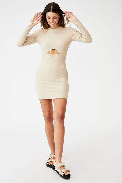Ellie Long Sleeve Cut Out Mini Dress, LATTE