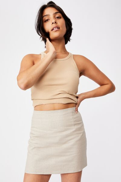Ultimate A Line Mini Skirt, TAUPE