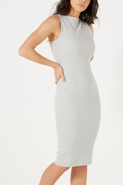 Lola Midi Dress, GREY MARLE/WHITE MINI TALS STRIPE
