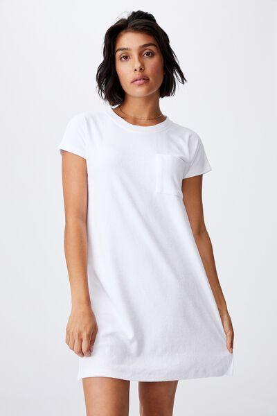 Terry Towelling Tshirt Dress, WHITE