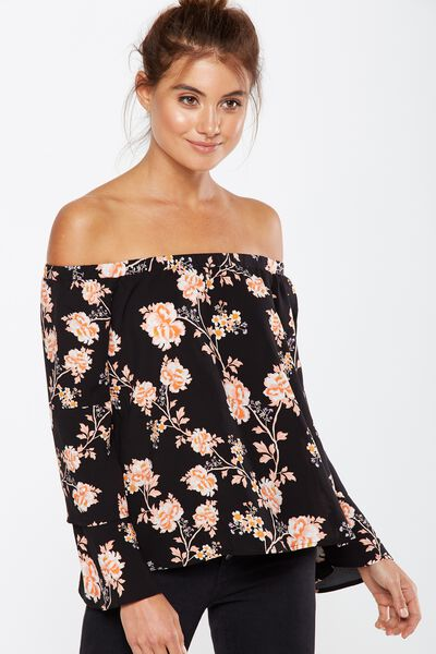 Tessa Tiered Off The Shoulder Top, ALICIA FLORAL PEACH BUD