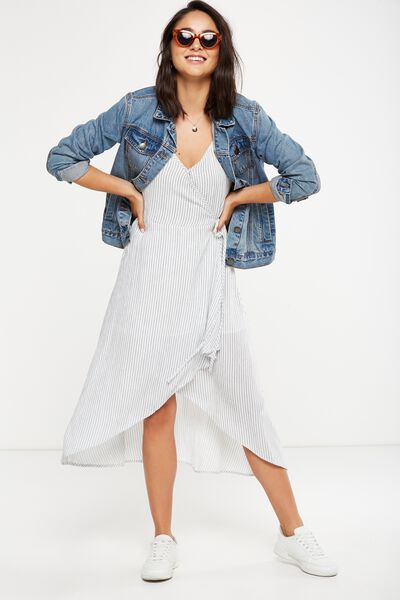Woven Lucia Strappy Wrap Midi Dress, LENA VERICAL STRIPE TOTAL ECLIPSE