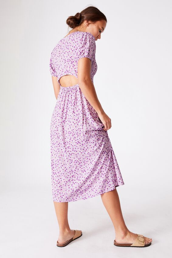 Woven Amber Open Back Midi Dress, QUINN DITSY WHITE LILAC