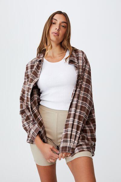 Boyfriend Shirt, GEMMA CHECK WOODLAND BROWN