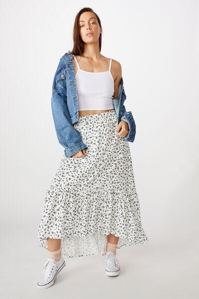 Gypsy Tiered Maxi Skirt, BRIANNA DITSY CLOUD DANCER