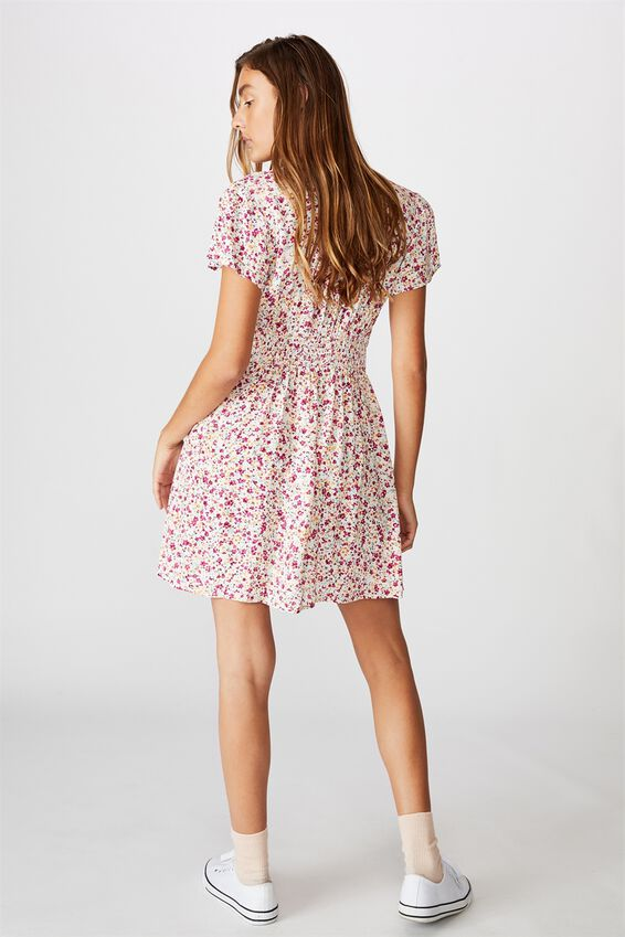 Woven Marissa Gathered Front Mini Dress, BRONTE DITSY MULTI