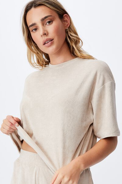 Terry Towelling Boxy Tee, LATTE