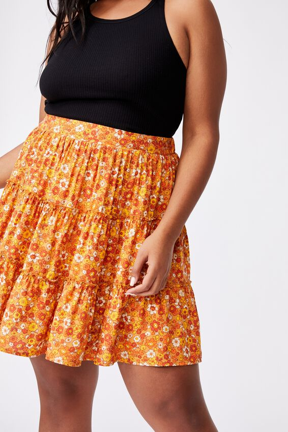 Curve Sky Skater Mini Skirt, WINDSOME DITSY RETRO YELLOW
