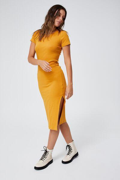 Essential Split Short Sleeve Midi Dress, RETRO YELLOW