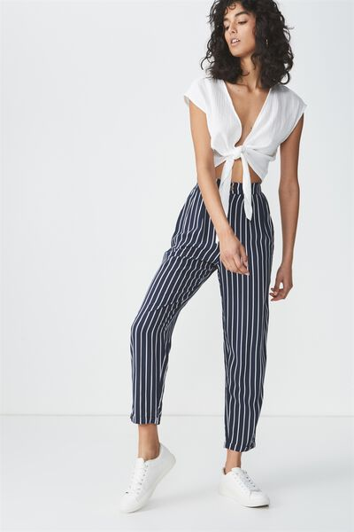 Abi High Waist Pant 2, SAM VERTICAL STRIPE TOTAL ECLIPSE