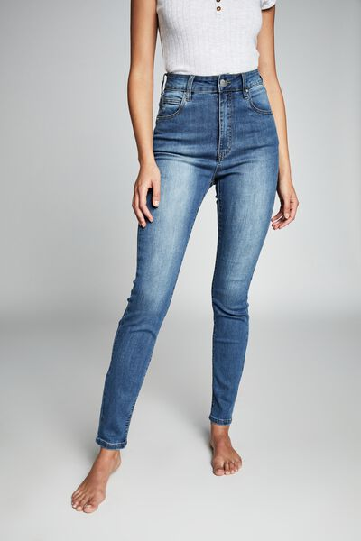 High Rise Skinny Jean, MID BLUE