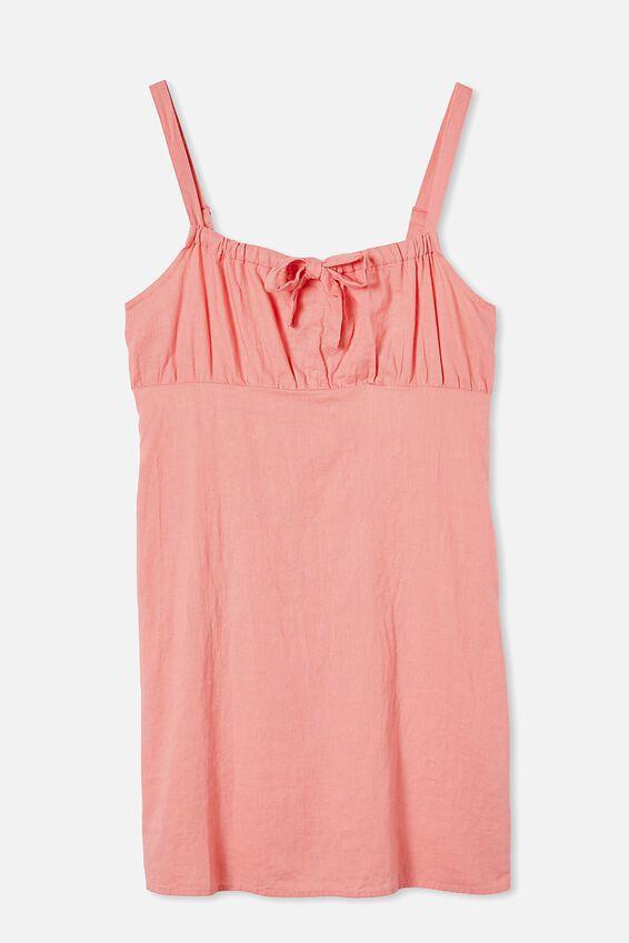Woven Layla Tie Front Mini Dress, STRAWBERRY SORBET