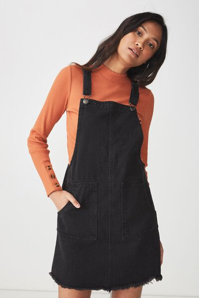 Denim Pinafore Dress, WASHED BLACK