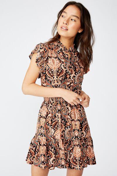 Woven Anya Ruffle Mini Dress, MARIA PAISLEY BLACK