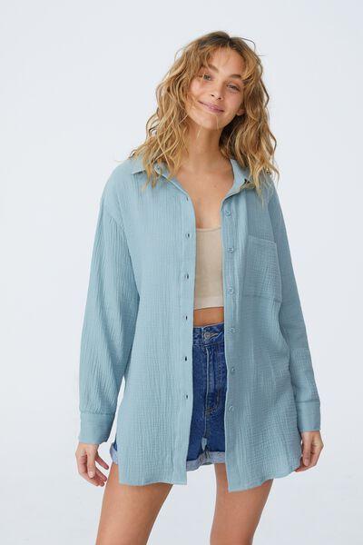 Savannah Oversized Shirt, AZURE BLUE