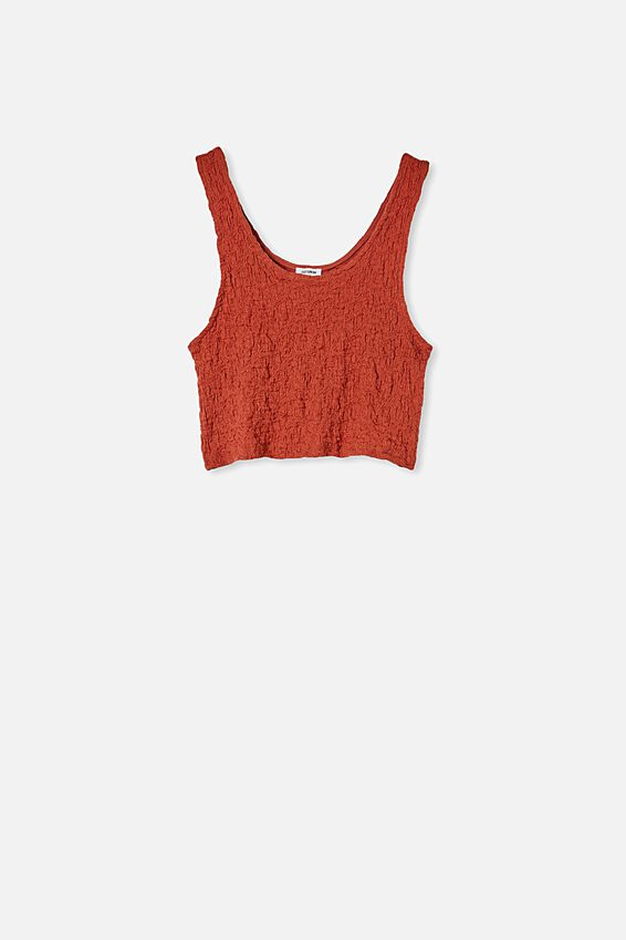River Textured Tank Top, RED TERRACOTTA