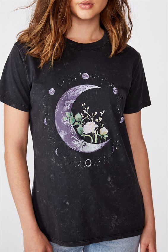 Classic Arts T Shirt, MOON FLOWER/BLACK