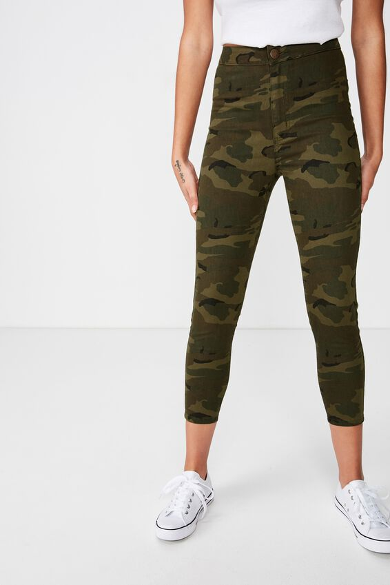 High Rise Capri Jegging, WASHED CAMO