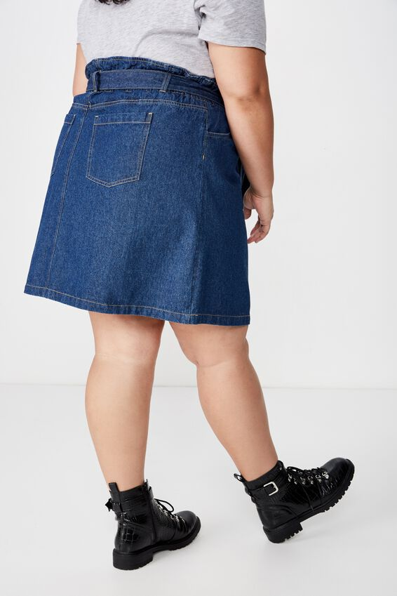 Curve Paperbag Denim Skirt, MID BLUE