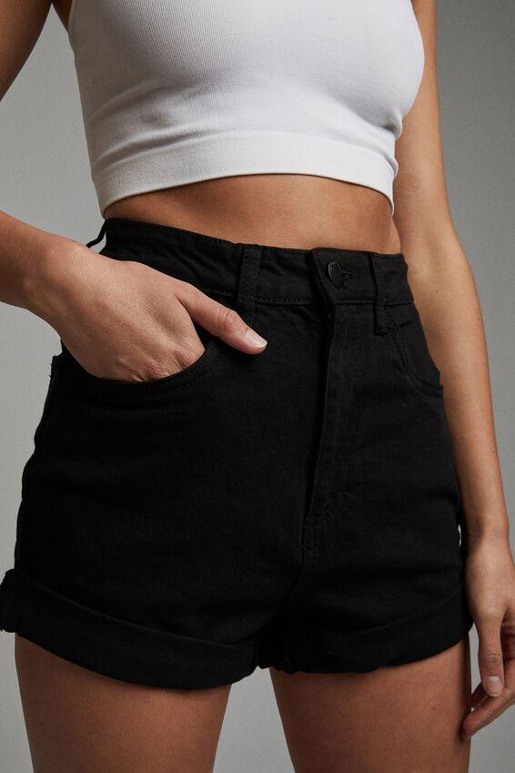 High Rise Classic Stretch Denim Short, BLACK