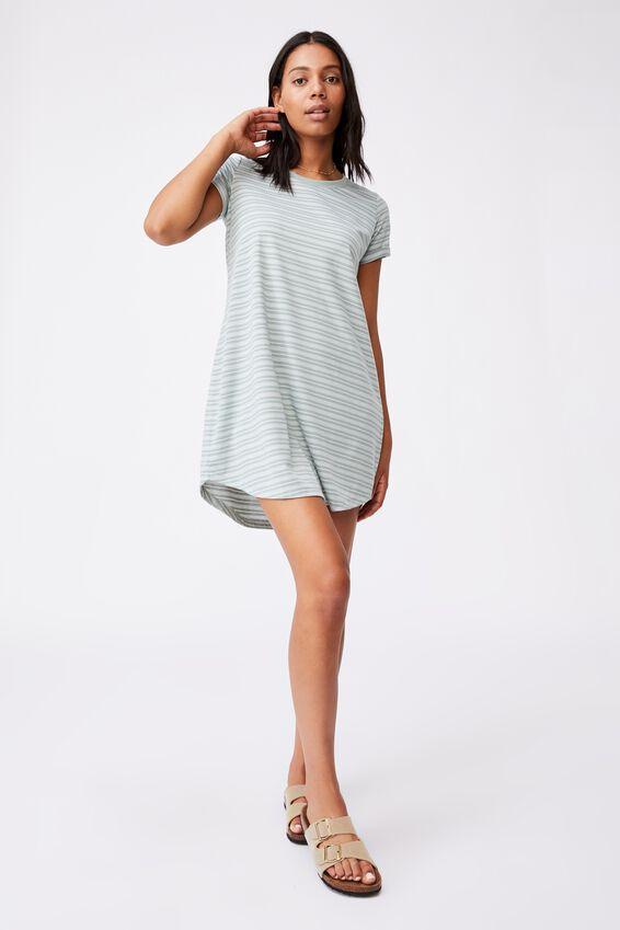 Tina Tshirt Dress 2, BIANCA STRIPE LUSH GREEN