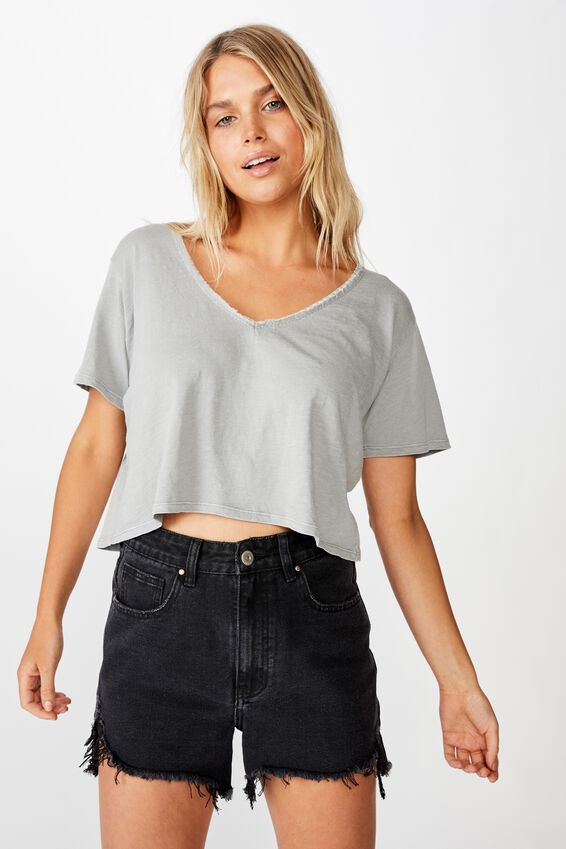 Boxy Lace Trim Tee, WASHED SLEET