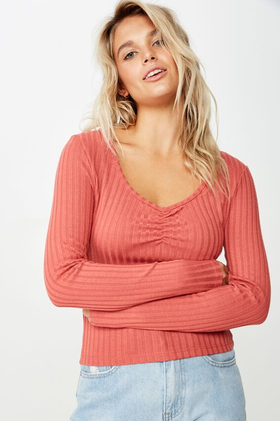 Bindi Rouched Front Long Sleeve Top, MINERAL RED