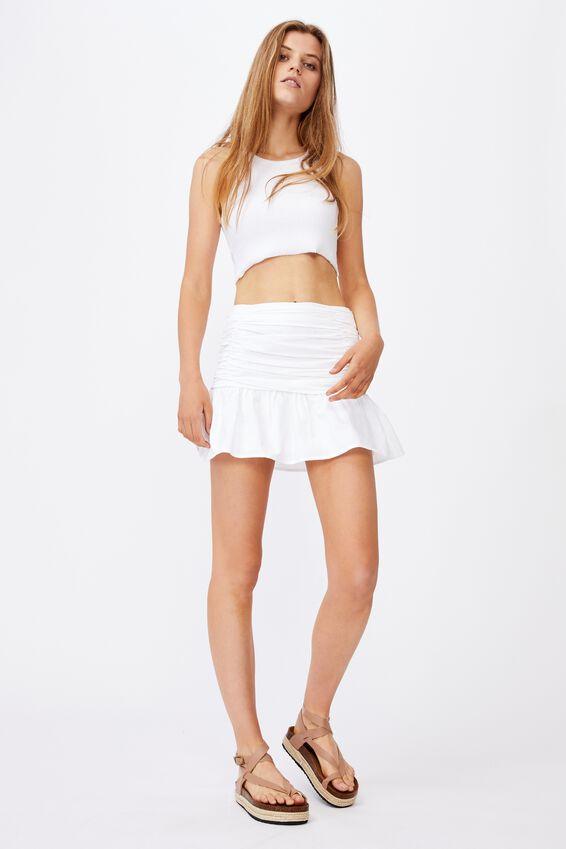 Claire Ruched Mini Skirt, WHITE