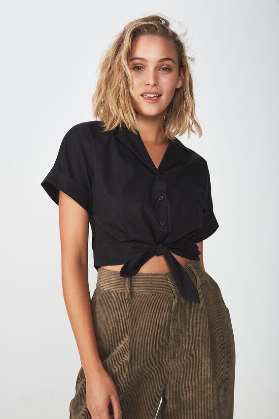 Blair Tie Front Shirt, BLACK