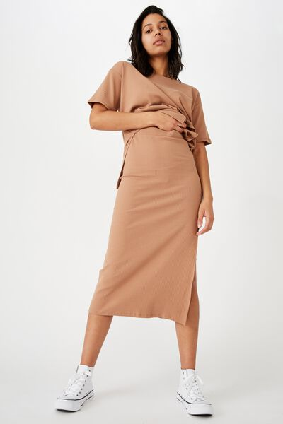 Bella Rib Midi Skirt, HERITAGE BROWN