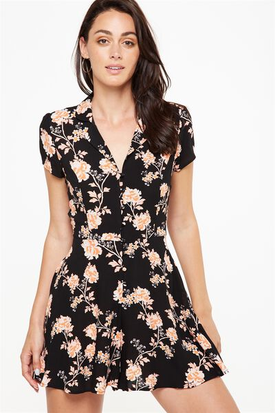 Woven Hazel Short Sleeve Button Up Playsuit, ALICIA FLORAL PEACH BUD