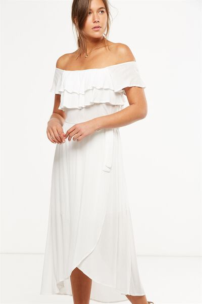 Woven Illa Off The Shoulder Maxi Dress, WHITE
