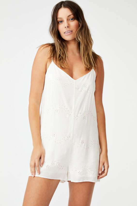 Woven Bianca Broderie Playsuit, WHITE