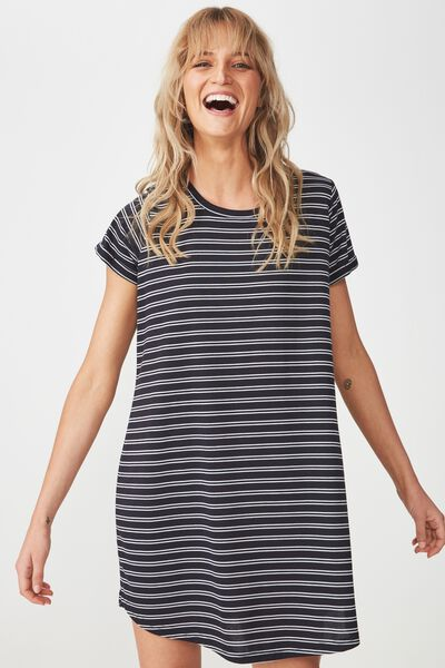 Tina Tshirt Dress 2, DEE DOUBLE STRIPE DEEPEST NAVY/WHITE
