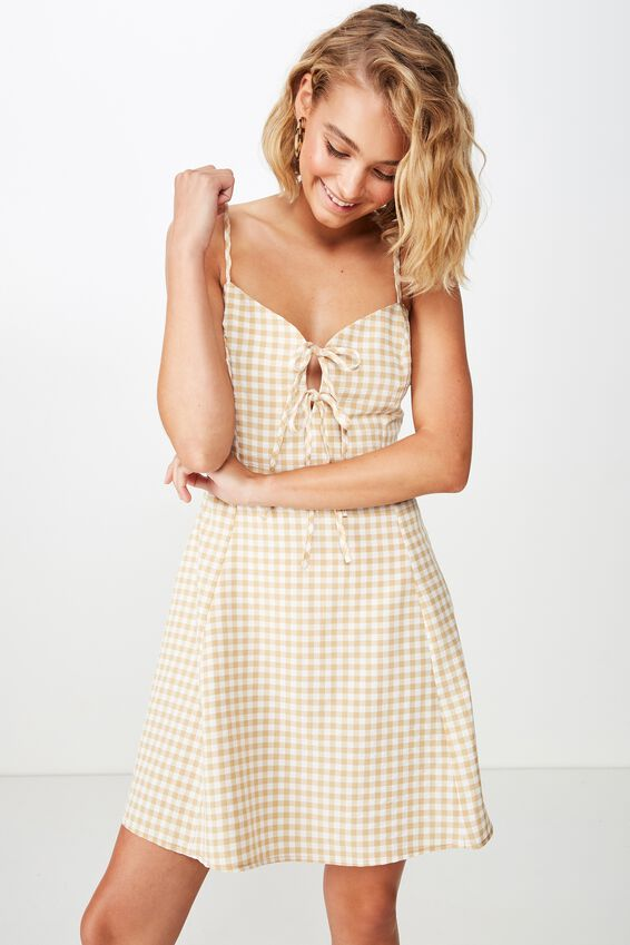 Woven Agnes Tie Front Mini Dress, ABBY GINGHAM TAFFY