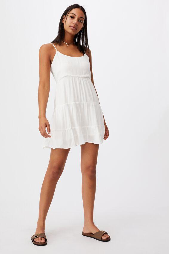 Woven Bindi Strappy Mini Dress, WHITE