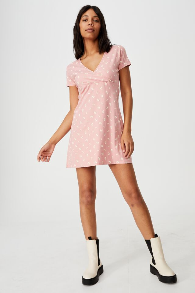 Bessie Cross Over Mini Dress, RUTHIE ROSE PETAL PINK
