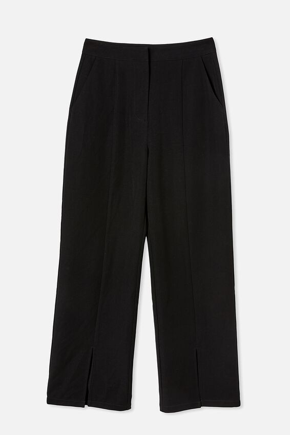 Roy Split Hem Pant, BLACK