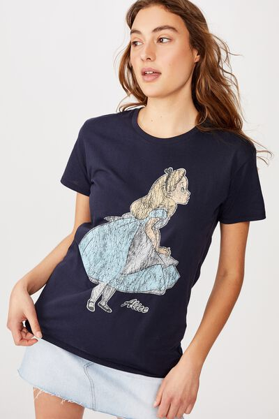 Classic Disney T Shirt, LCN DIS ALICE/MOONLIGHT