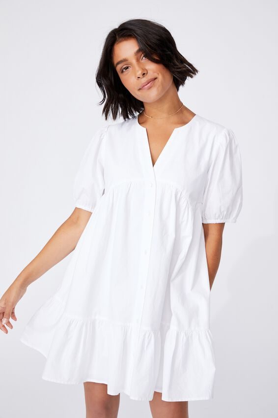 Woven Marcia Button Through Mini Dress, WHITE