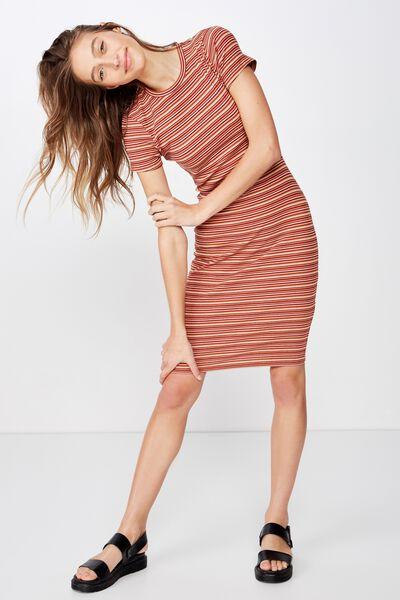 Essential Short Sleeve Bodycon Midi Dress, WILLOW STRIPE MULTI RIB