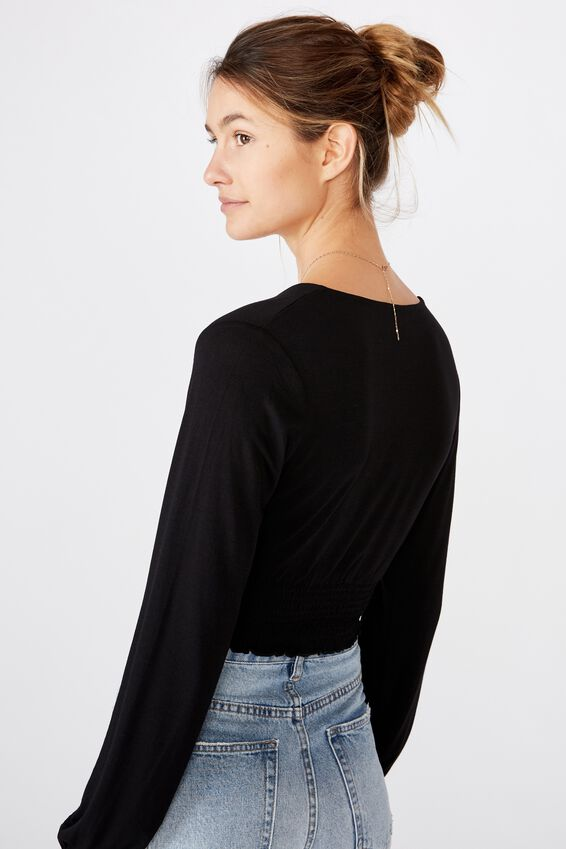 Cross Front Shirred Long Sleeve Top, BLACK