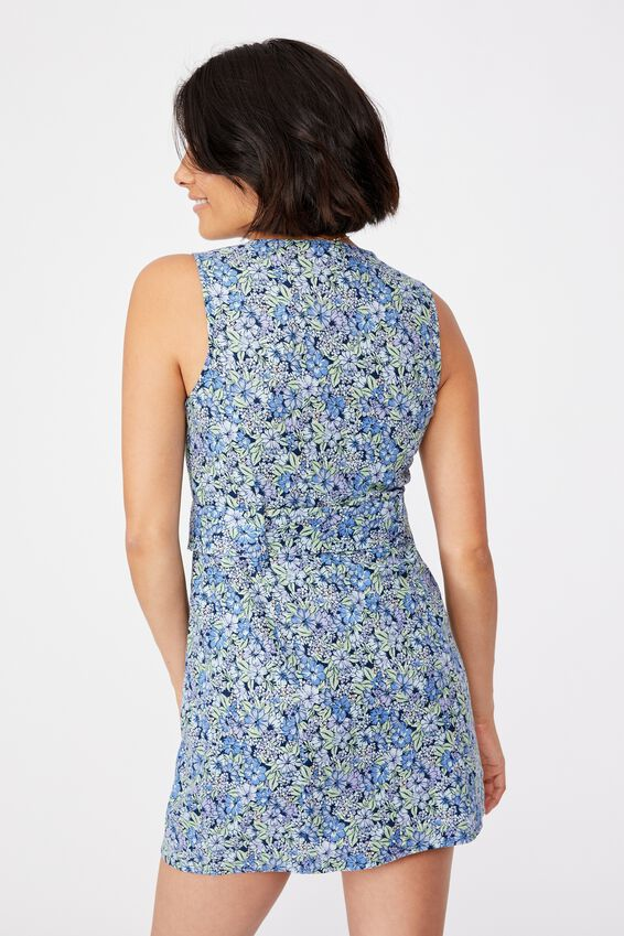 Woven Valerie Vest Mini Dress, HANNAH FLORAL BLUE DAISY