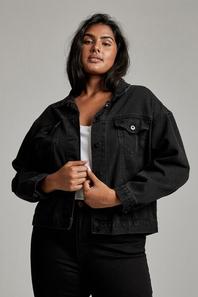 Curve 90S Baggy Denim Jacket, MIDNIGHT BLACK