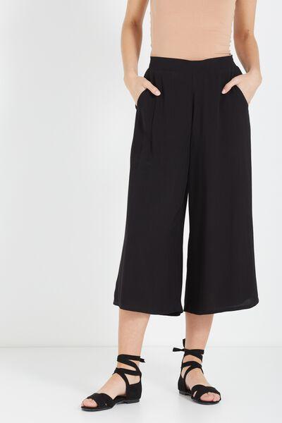 Mid Rise Drapey Culotte Pant, BLACK