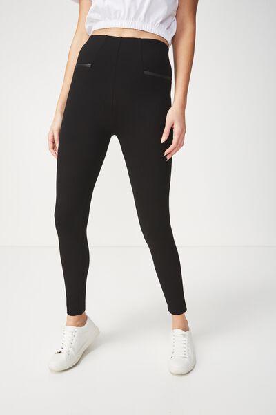 Dantea Legging, BLACK/PU POCKET