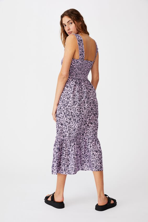 Woven Tess Shirred Strappy Midi Dress, NICOLE DITSY FROSTY LILAC