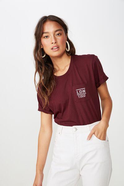 Classic Slogan T Shirt, LDN POCKET/WINE TASTING