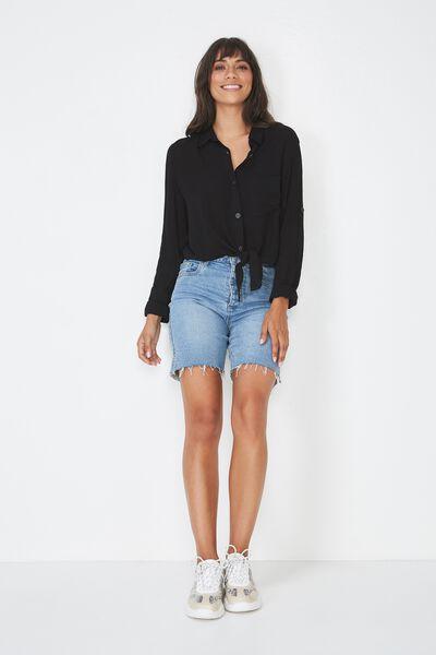 Serena Tie Front Shirt, BLACK Y