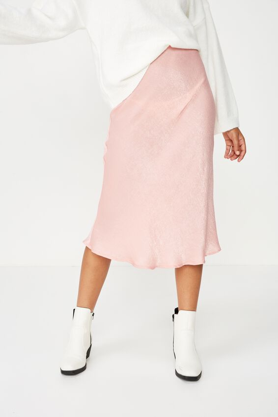 Woven Belle Bias Midi Skirt, ROSE TAN